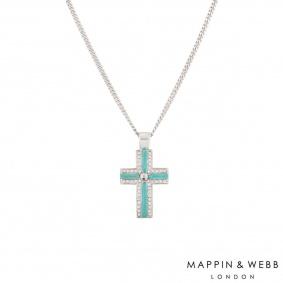 Mappin & Webb White Gold Diamond Cross Necklace